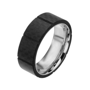 "Silver Stainless Steel Full Black Solid Carbon Fiber Ridge Band €"" Size 12"