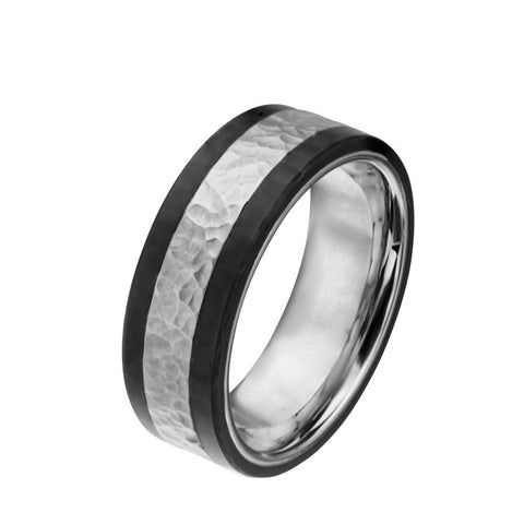 Silver Stainless Steel Hammered Band with Carbon Fiber Detail – Size 12