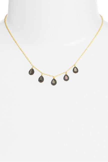 Slated Noir Droplet Frontal Necklace