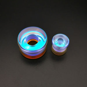 Iridescent Glass Double Flare Tunnels /  Eyelets Ear Gauges