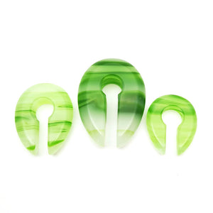 Green Line Glass Oval Keyhole Ear Weights Hangers