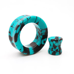 Teal Turquoise Double Flare Tunnels /  Eyelets Ear Gauges