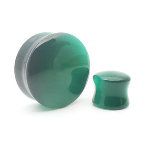 Emerald Green Cats Eye Glass Convex Double Flare Plugs Ear Gauges