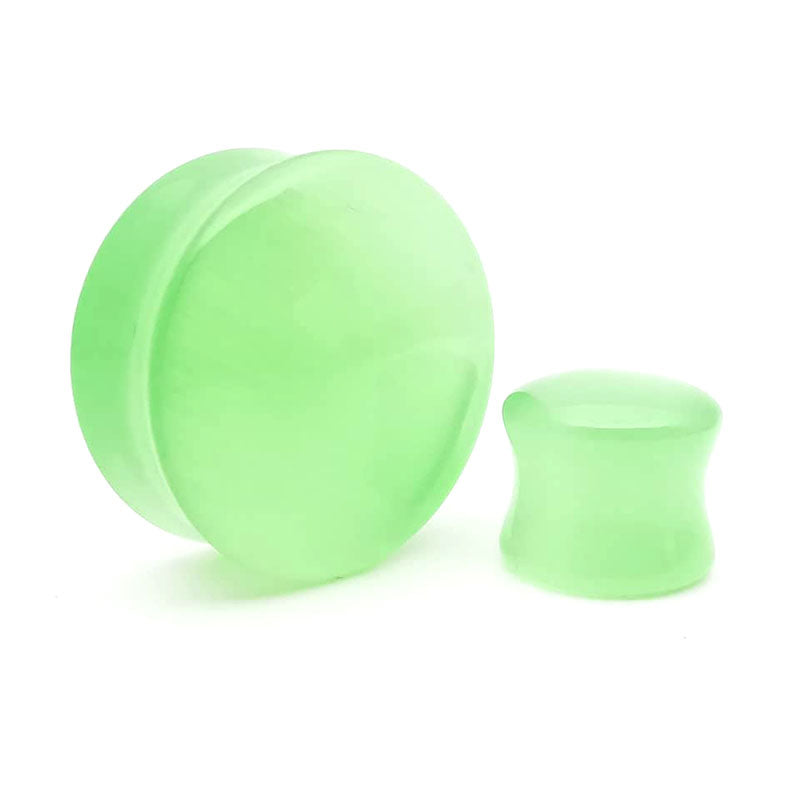 Green Cats Eye Glass Convex Double Flare Plugs Ear Gauges