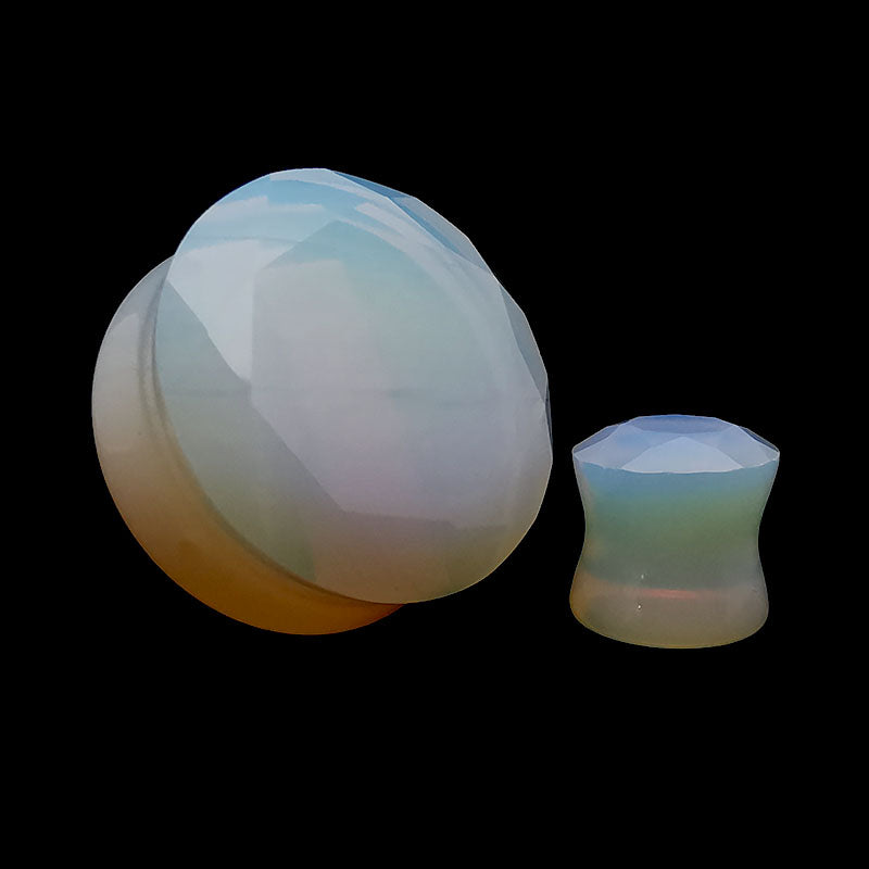 Faceted Opalite Double Flare Stone Plugs