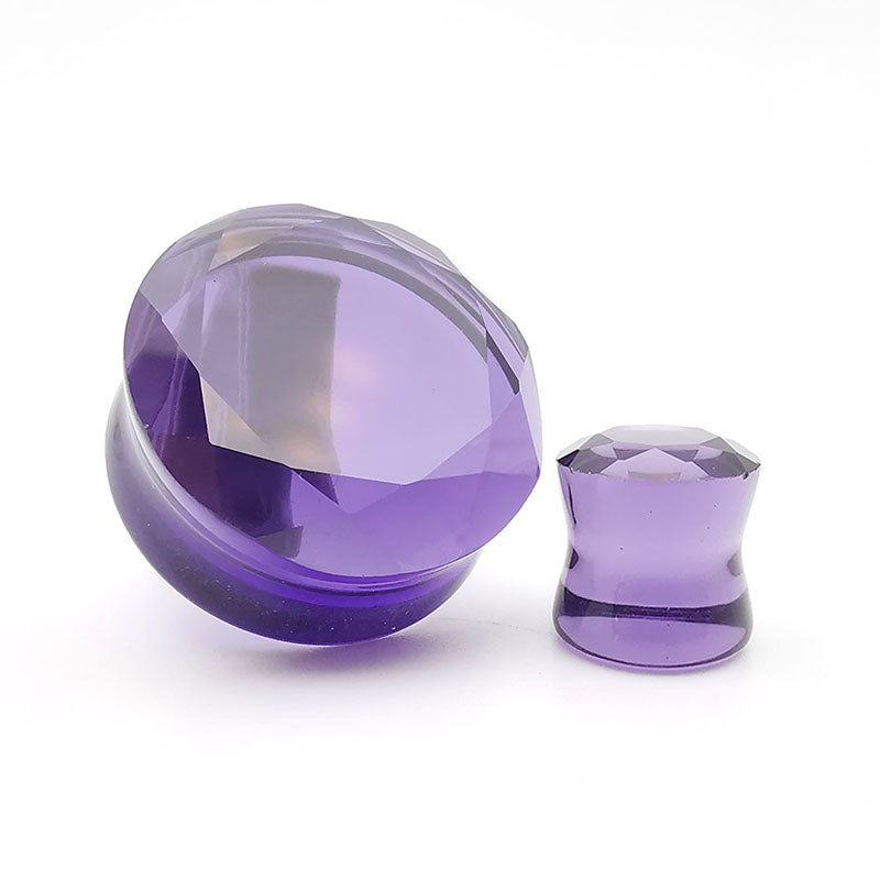 Faceted Purple Glass Double Flare Plugs Ear Gauges