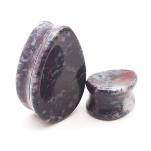 Concave Chicken Blood Jasper Teardrop Stone Plugs Ear Gauges
