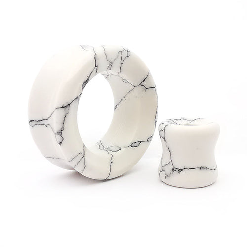 White Howlite Double Flare Tunnels /  Eyelets Ear Gauges