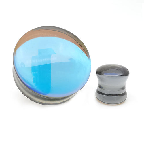 Convex Black Iridescent Glass Double Flare Plugs
