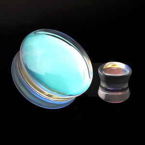 Convex Clear Iridescent Glass Double Flare Plugs