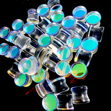 Load image into Gallery viewer, Clear Iridescent Glass Flat Sides Double Flare Plugs Ear Gauges