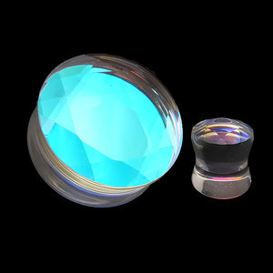 Faceted Iridescent Glass Double Flare Plugs