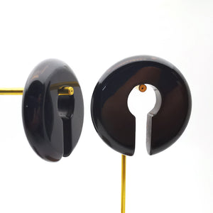 Black Obsidian Round Keyhole Ear Weights Hanger