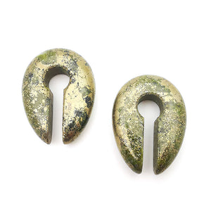 Pyrite Stone Oval Keyhole Ear Weights Hangers