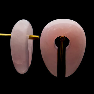 Rose Quartz Oval Keyhole Ear Weights Hangers