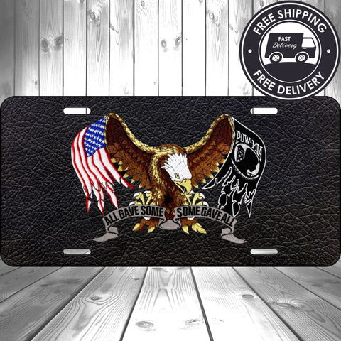 POW MIA  METAL ALUMINUM CAR LICENSE PLATE TAG AMERICAN EAGLE AMERICAN FLAG