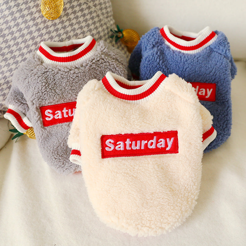 Saturday pet clothes dog lambskin warm clothing