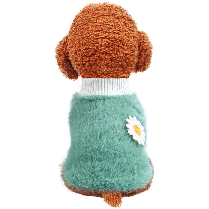 Dog pet clothes cat costume daisy thickened
