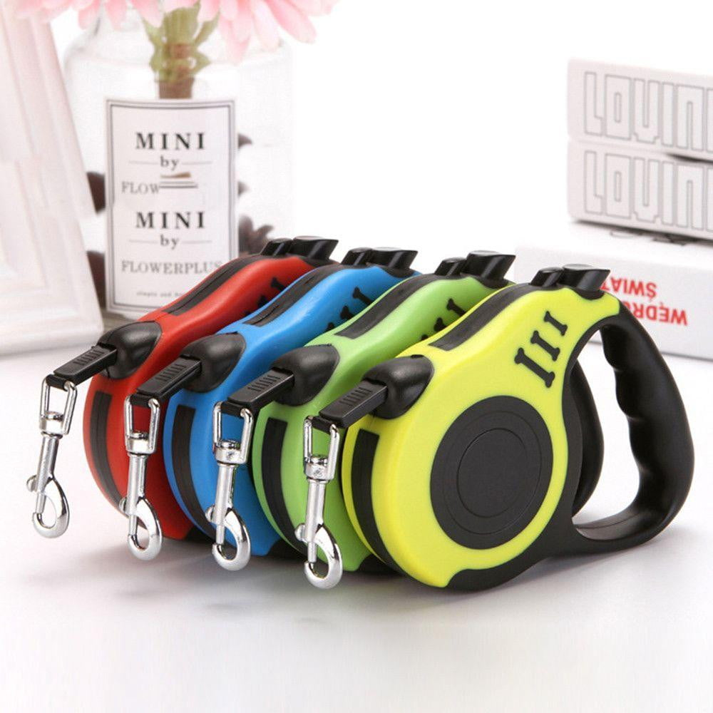 A Retractable Strong Nylon Dog Leash with Comfortable Hand Grip, One Button Brake, Pause & Lock - NuoPets