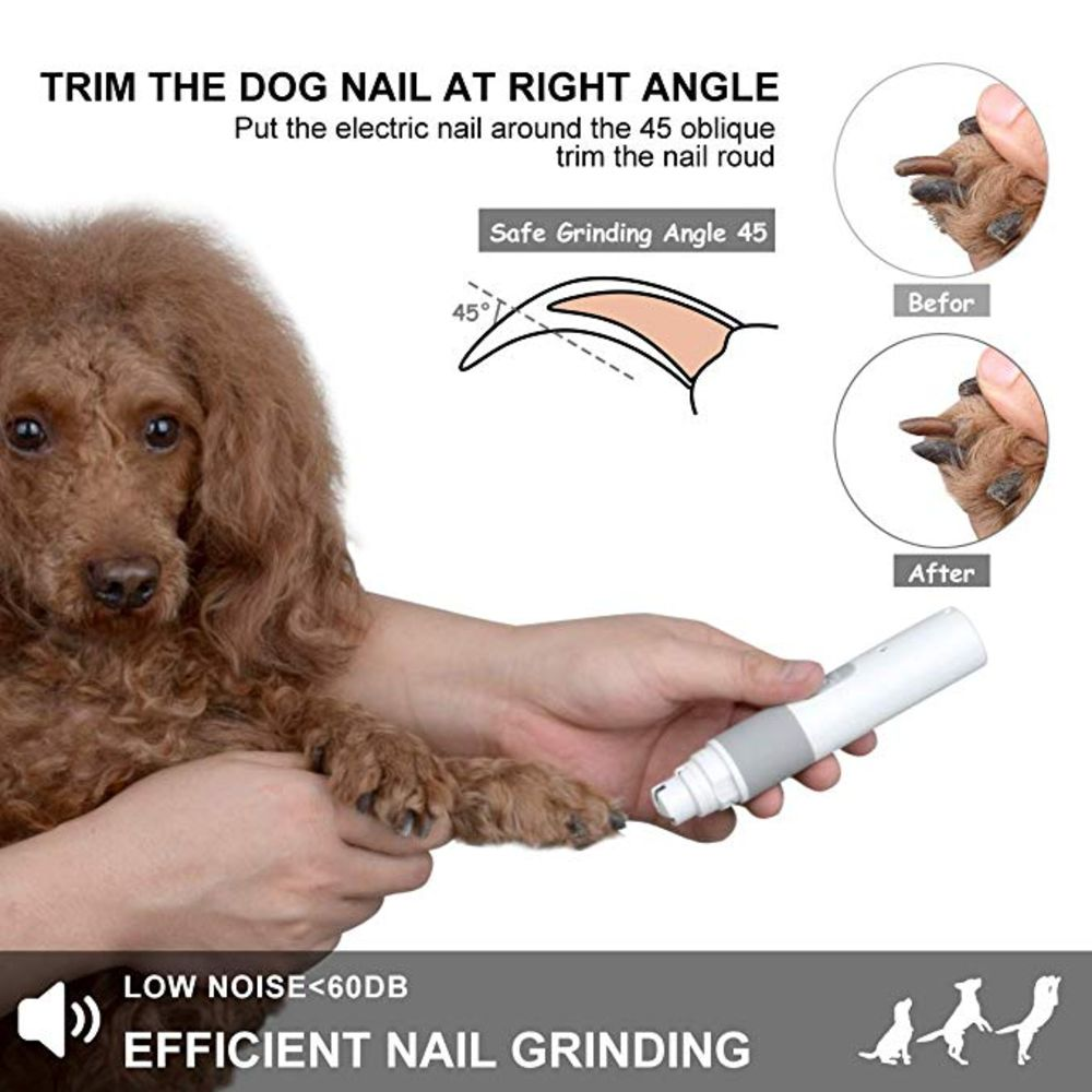 Portable Electric Dog Grooming, Trimming, Nail Grinder & Clipper Tool with USB Rechargeable Port - NuoPets