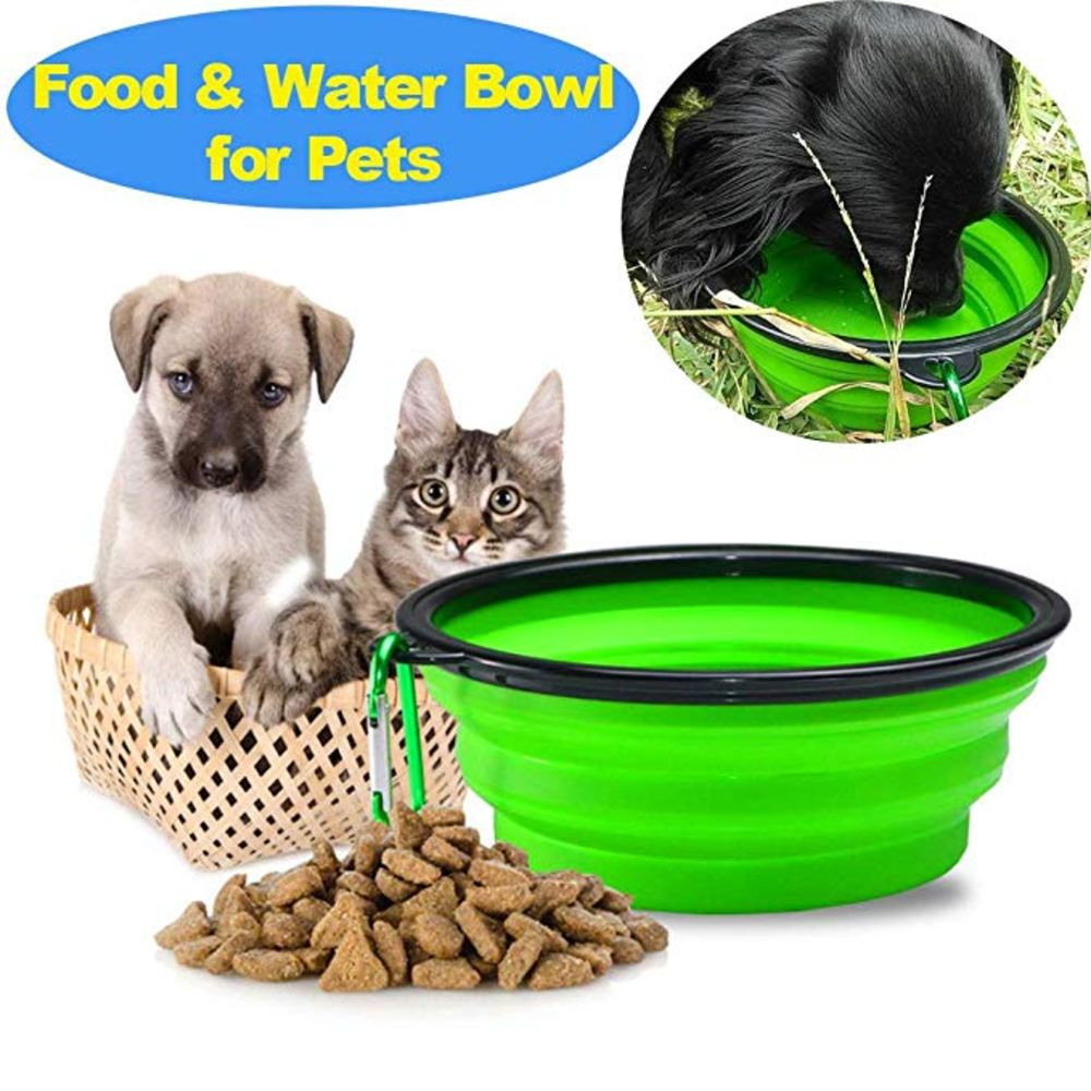 Collapsible Dog Bowl For Food & Water. A Fordable Travel Pet Bowl with Carabiners - NuoPets
