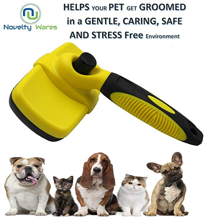 Self Cleaning Slicker Brush with A Push Button Slide To Lift The Furs From Brush For Easy Cleaning - NuoPets