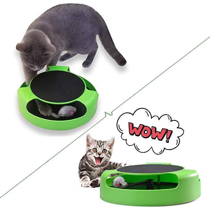 An Interactive Cat Toy with A Running Mouse and Scratching Pad - NuoPets