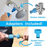 Pet Grooming Shower Sprayer & Scrubber Bathing Tool Compatible with Bath Tub & Outdoor Garden Hose - NuoPets