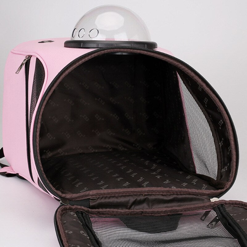 Big Space Solid Color Pink Black Pet Carrier Backpack Bag Cats Dog Breathable PU Dog Carrier Seat
