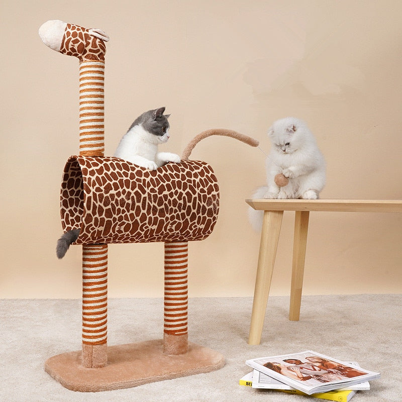 DIY Giraffe cats scratching post toys rope Sisal Rope Pet Jumping Toy Tree Cat Climbing Frame for Kittens Pet House Play Tower