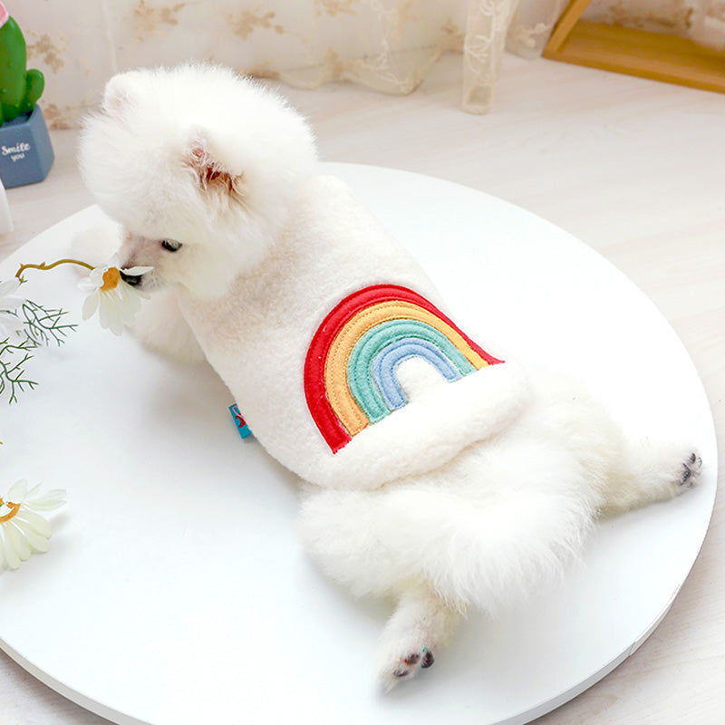 Pet clothing dog cat warm vest rainbow