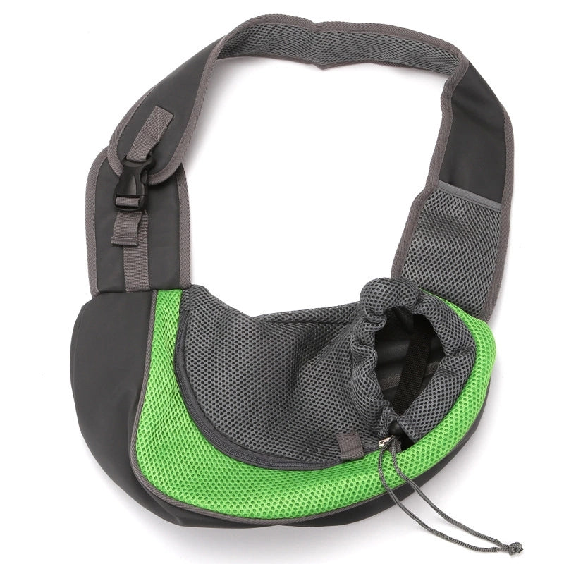 Nuopets Hands-free pet carrier Dog Breathable Pouch Mesh Shoulder Sling Bag