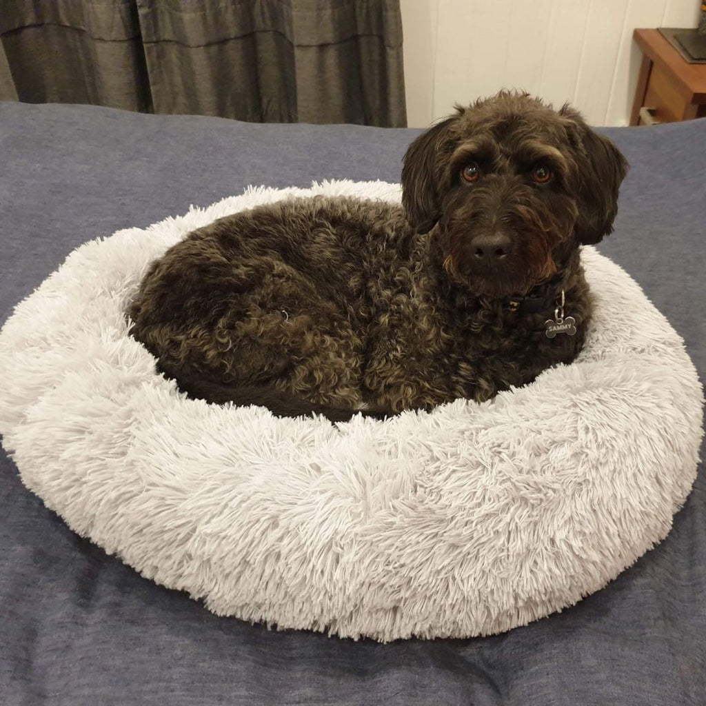 Dog bed Long Plush Dounts Calming Bed Super Soft Fluffy Comfortable