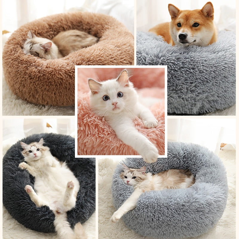 Nuopets Fuzzy Nest Calming Dog Bed Anti Anxiety Long Plush Pet Bed
