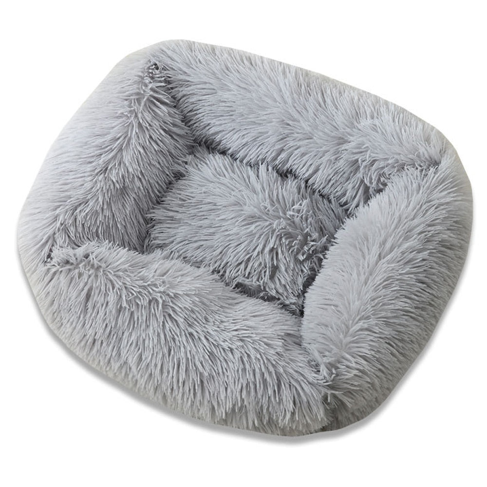Fuzzy nest dog bed Square Long Plush Pet Beds