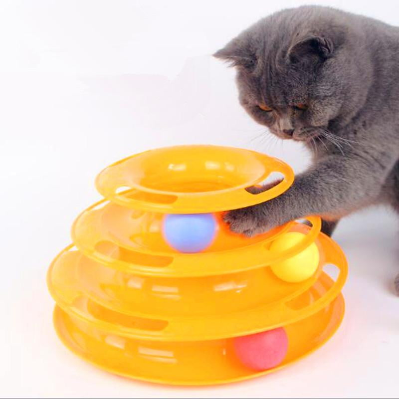 3 Level Tower Track Roller Toy with Balls for Cats - NuoPets