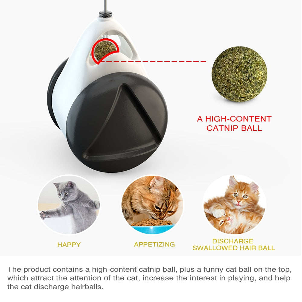 Tumbler Swing Toys for Cats Kitten Interactive Balance Car Cat Chasing Toy With Catnip