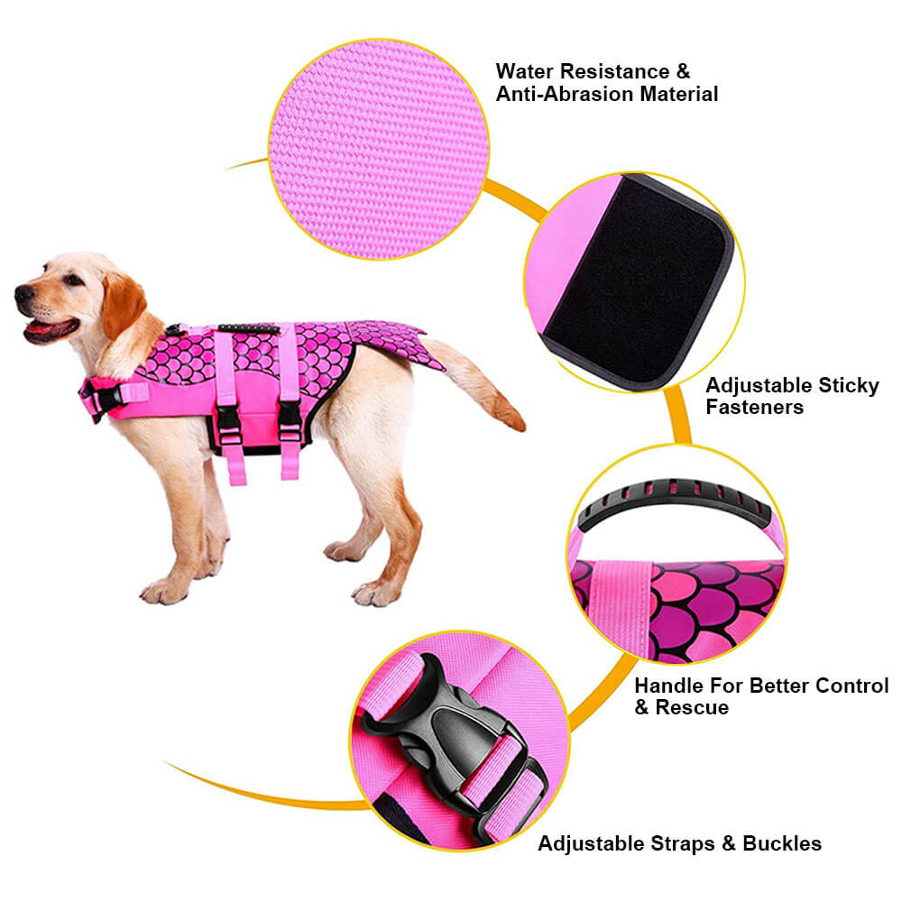 Dog Life Jacket Floating Vest With Adjustable Strap, Quick-Release Buckles & Handle