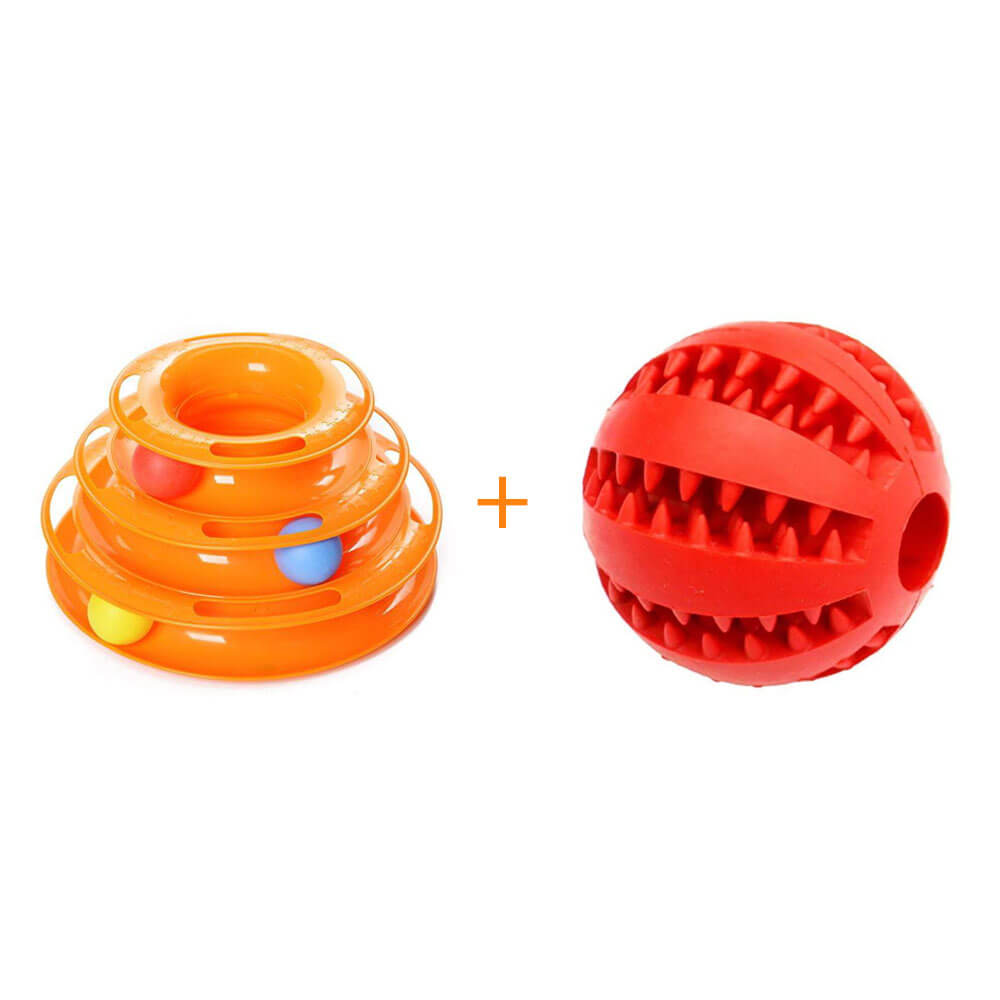 IQ Treat Dispensing Chew Ball Toy & Tower Track Roller Toy with Balls Set