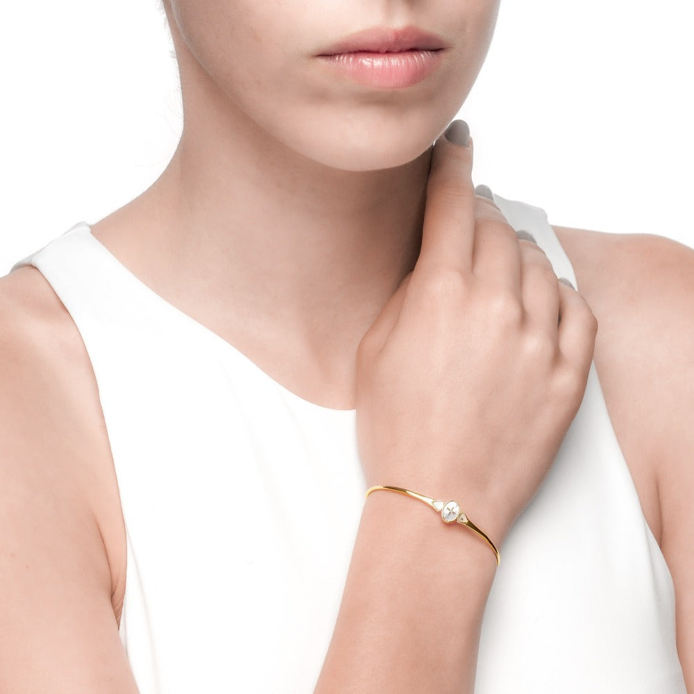Spirito Rosa x Queen Dina Fall | Oceane Bangle | 925 Silver | Mother of Pearl | 14K Gold Plated