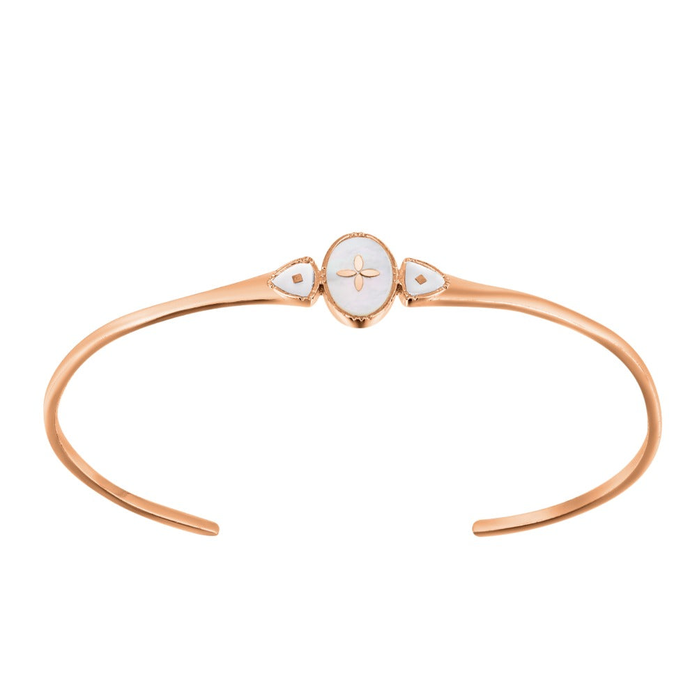 Spirito Rosa x Queen Dina Fall | Oceane Bangle | 925 Silver | Mother of Pearl | Rose Gold Plated