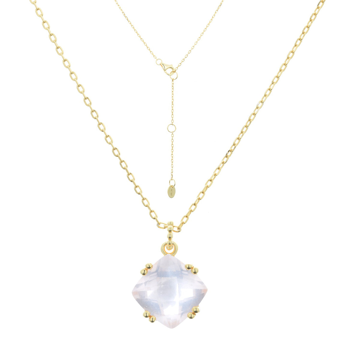 Fortuna | Prato Necklace | 925 Silver | Rose Quarts | 18K Gold Plated