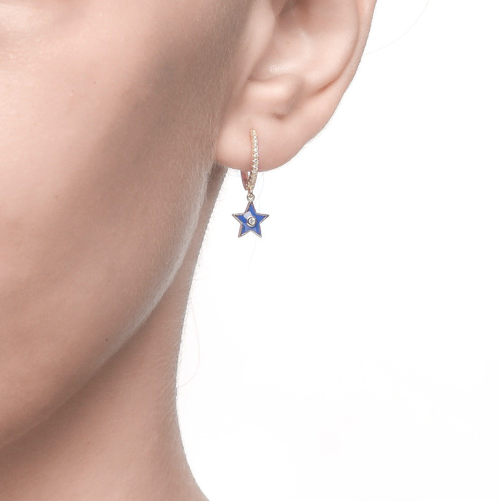 Salacia | Paros Earrings | 925 Silver | White CZ & Midnight Blue Enamel | 18K Gold Plated