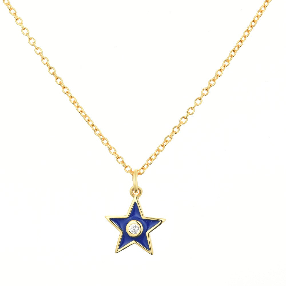 Salacia | Paros Necklace | 925 Silver | White CZ & Midnight Blue Enamel | 18K Gold Plated