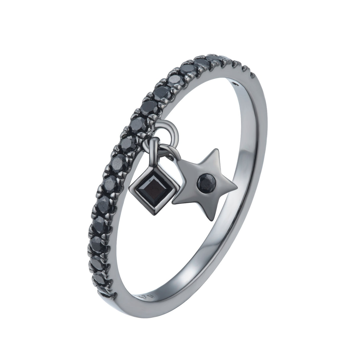 Fortuna | Ancona Ring | 925 Silver | Black CZ | Black Rhodium Plated