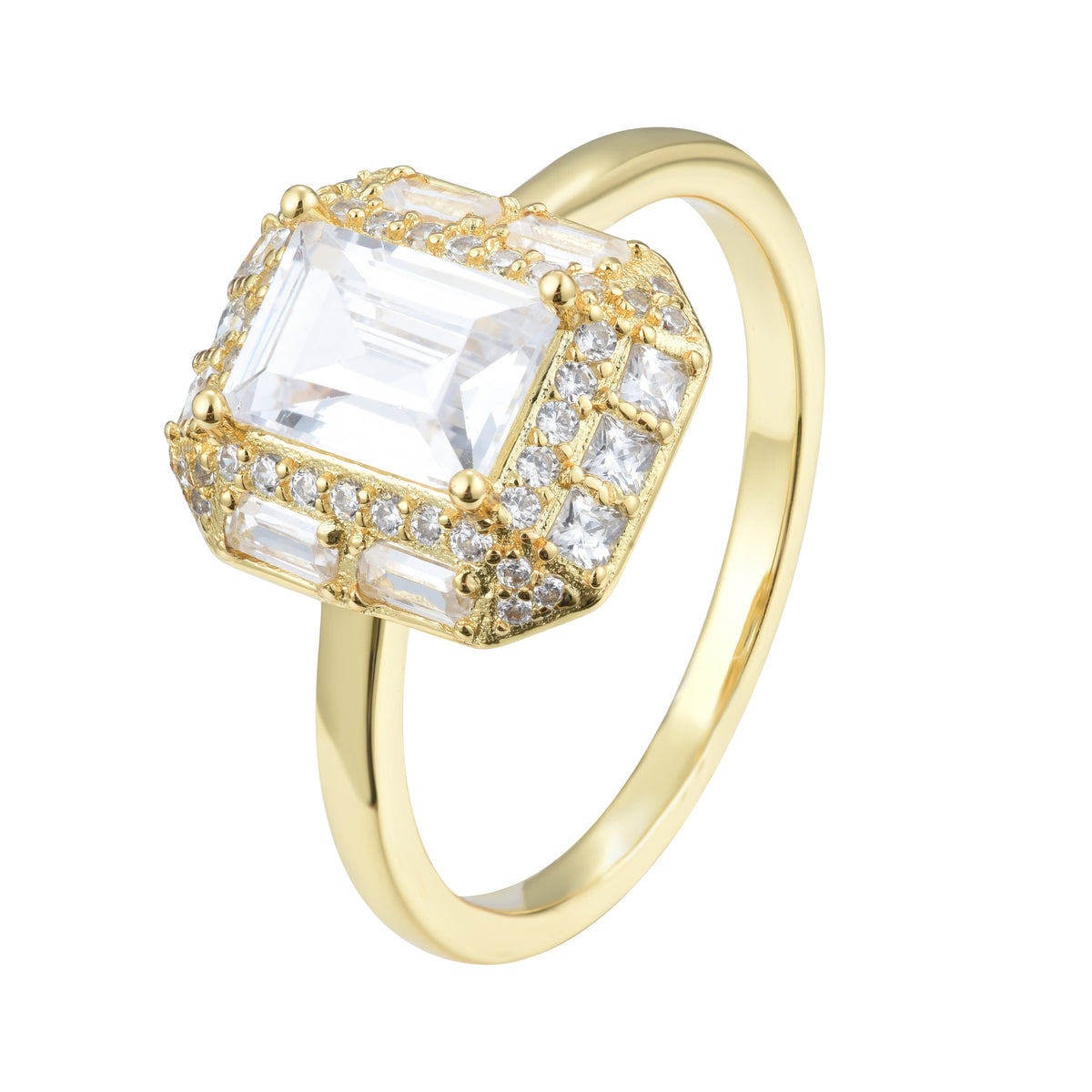 Ferentina | Brownie Ring | 925 Silver | White CZ | 18K Gold Plated