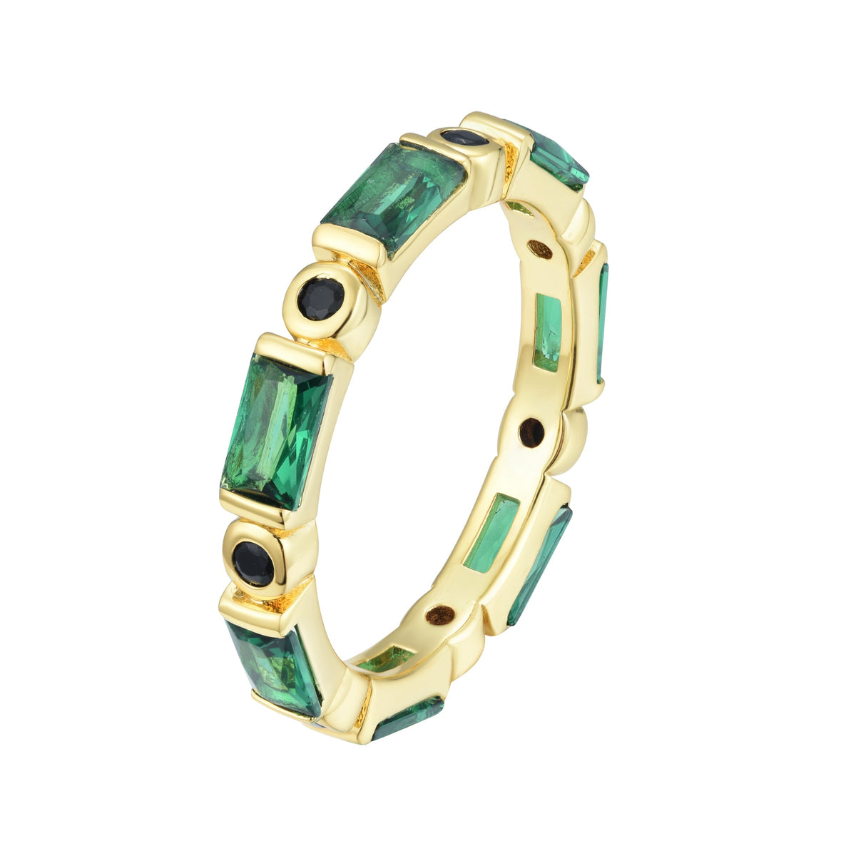 Ferentina | Banoffee Ring | 925 Silver | Black & Green CZ | 18K Gold Plated