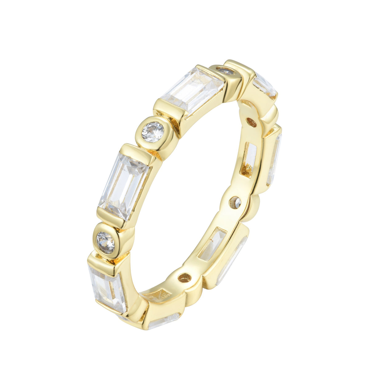 Ferentina | Banoffee Ring | 925 Silver | White CZ | 18K Gold Plated