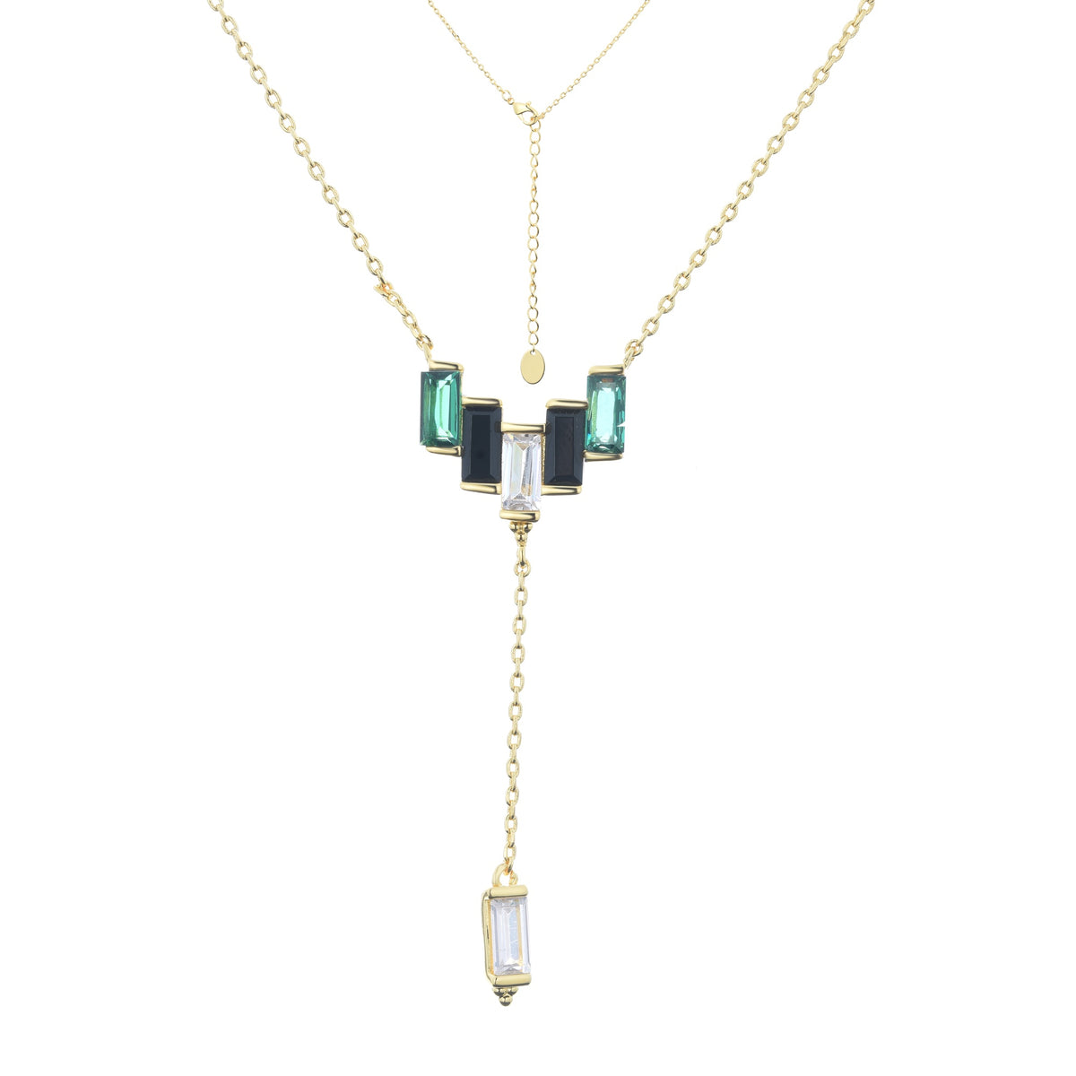 Ferentina | Mousse Necklace | 925 Silver | White & Black & Green CZ | 18K Gold Plated