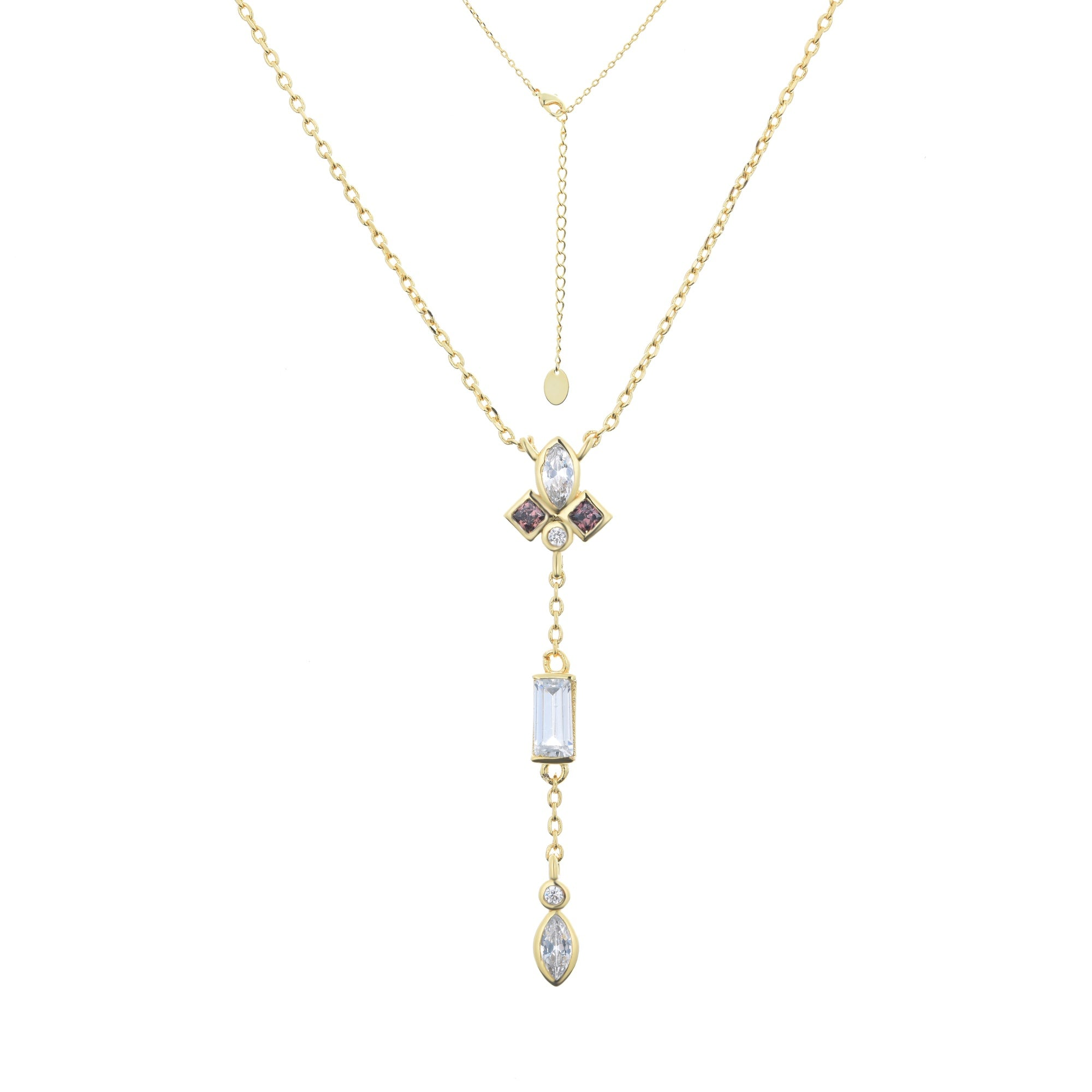 Ferentina | Panettone Necklace | 925 Silver | White & Smokey CZ | 18K Gold Plated